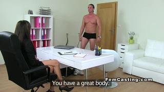 Tall muscled guy fucks female agent thumb