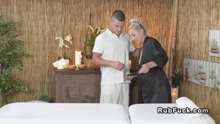 Experienced masseur gets blowjob and fuck thumb