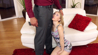 Lily Rader gets down on her knees and bargains with her mouth thumb