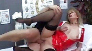 Latex nurse loves huge cock in her shaved pussy thumb