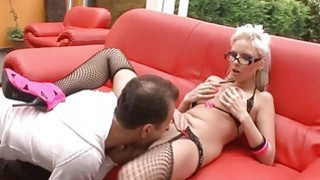 Busty blonde licked_and_dicked hardcore on a patio thumb
