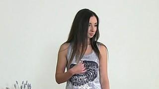 Lesbian female agent fucks brunette with strap on dildo thumb