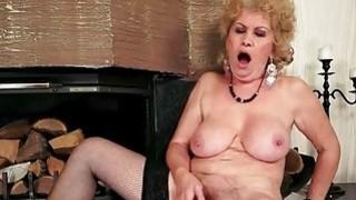 Naughty busty granny in stockings masturbating thumb