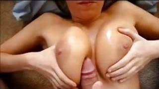 Cumming on her Big Milf Tits thumb