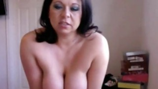 Brunette busty milf Riding her sex toy on webcam thumb