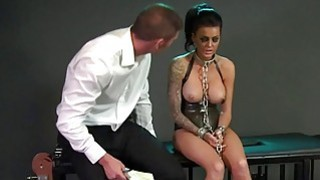 Chained busty sub banged on the floor in dungeon thumb