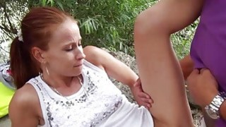 Minnies tight hole gets probed in public thumb