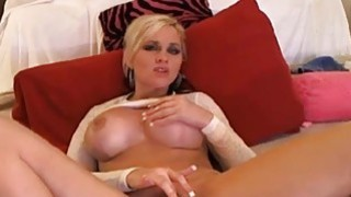 Big Boobs Blonde Babe Fingering Her Tight Pussy on thumb