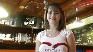 European waitress with big boobs gets banged for extra money thumb