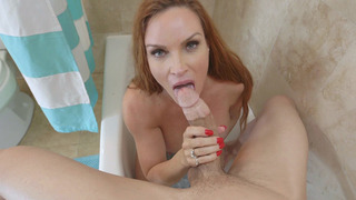Redhead Diamond Foxxx jumped in the tub and sucked her step son thumb