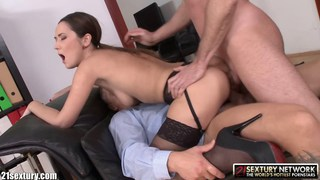 Sexy secretary double dicked by her bosses thumb