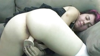 Raven fucks her young pussy with a big toy thumb