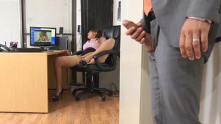 Cassidy Banks gets caught finger fucking her beaver by her boss thumb