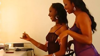 Young Black Lesbians Lick And Finger Pussies In Dressing Room thumb