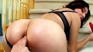 Anal freak gets double penetrated during hard threesome on_sofa thumb