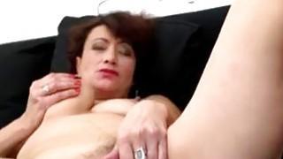 Hairy mature woman masturbating on_the sofa thumb