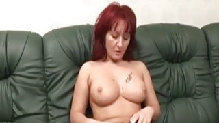 Big titted redhead slut gets fucked by an amputee thumb
