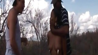 Rough outdoor fucking with an African slut and big cocked studs thumb