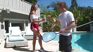 Amazing brunette teen Nina North seduces and fucks the pool man thumb