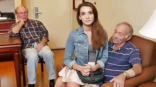 Naughty Old Guys Talk Naive College Girl Into Intense Sex On Bed thumb