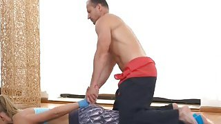 Blonde babe Ivana Sugar getting her wet cunt licked by a gym instructor thumb