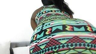 Busty ebony babe Camille Amore riding white rod thumb