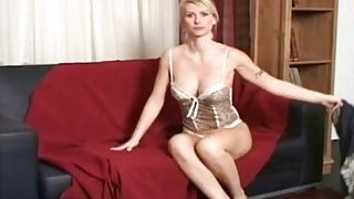 Spy cam recorded astonishing blond chick masturbation with a dildo in her living room thumb