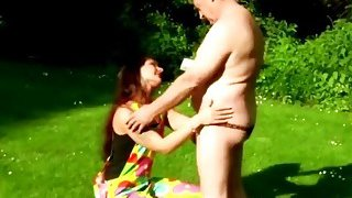Slutty brunette teen blows old man's dick and takes it in_he vagina somewhere in nature thumb