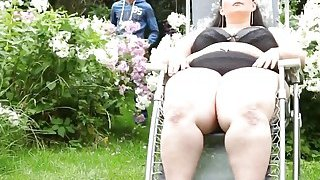 Natural titted BBW brunette enjoying outdoor 69 thumb