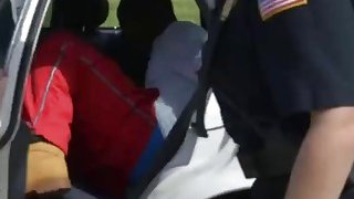 Brunette and Blonde MILF Cops Arrested And Fucked a Black Guy on the Stairs thumb