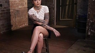 Beautiful slave with cool tattoos toyed thumb