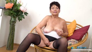 EuropeMaturE Hot Lady Solo Striptease and Stroking thumb