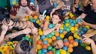 Ball pit babe gets teased on cam thumb
