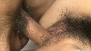 Beautiful big titted Asian chick blows and fucks two cocks thumb