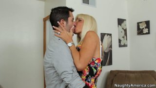 Ugly blonde mommy Kasey Storm gives a head in hall thumb