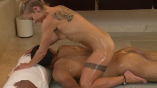 Horny blondie Cameron Canada gets poked doggy after the massage thumb