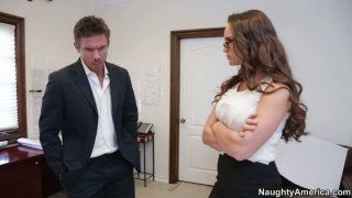 Sexy spy Teal Conrad gets caught in the office by her boss thumb