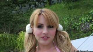 Cute faces Lexi Belle and Blue Angel posing on a cam in sexy doll outfits thumb