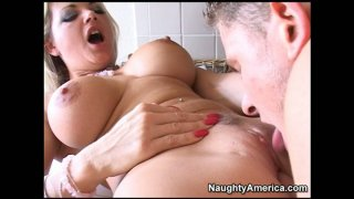 Dick voracious buxom blond head Vicky Vette gets banged doggy in the kitchen thumb