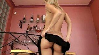 Seductive blonde kitty Sophie Moone hot striptease show thumb