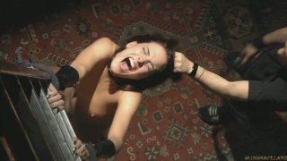 Brunette teeny whore Lyen Parker is blindfolded and whipped really hard thumb