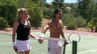Tennis play ends up with quickie for delicious blonde whore Brynn Tyler thumb