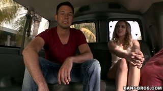 Whorish blonde bitch Lexi Belle fucks doggy style in a truck thumb