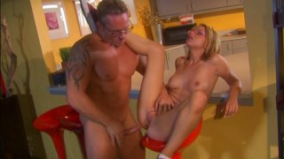 Ugly blondie in glasses Lexi Belle gets fucked in the bar thumb