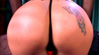 Platable blonde Angel Long plays with very big dildo thumb