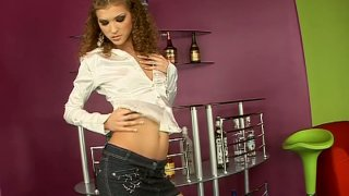 Curly Juliette Shyn strip teases demonstrating her skinny butt thumb