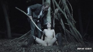 Young scared slut gets her pussy drilled in the forest thumb