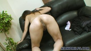 Maki Shimazaki bends over for doggy style with small dick thumb