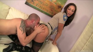 True seductress Angelica Saige gives a head to Ralph Long thumb