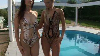 Aletta Ocean and Ksara in mini bikini by pool side thumb
